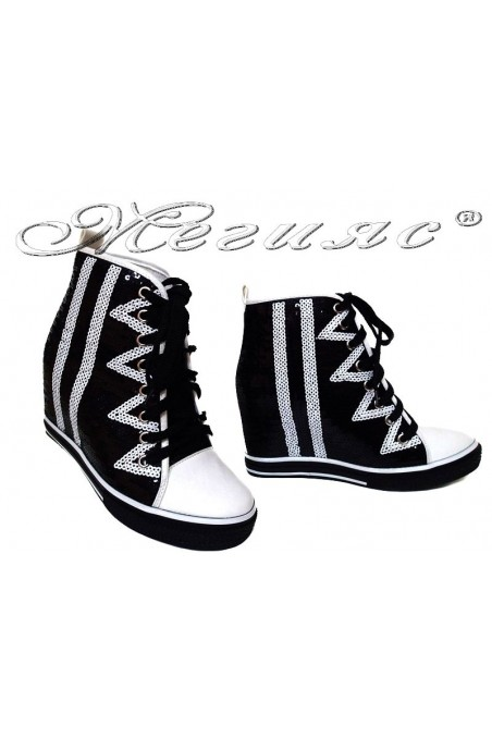 Women ankle boots 114-889 black white sport platfotm