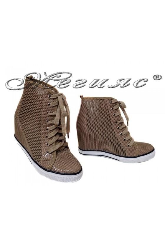 Women ankle boots 114-890 beige network sport platfotm