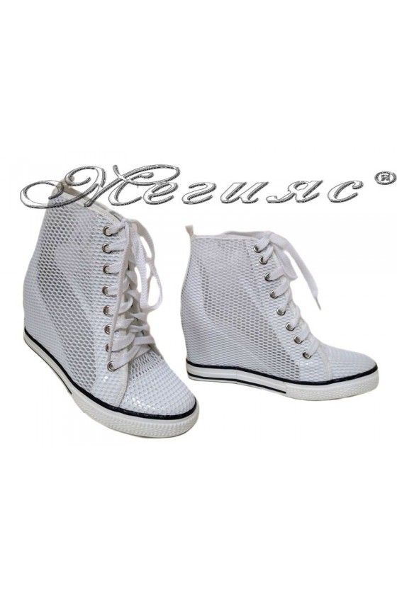 Women ankle boots 114-890 white network sport platfotm