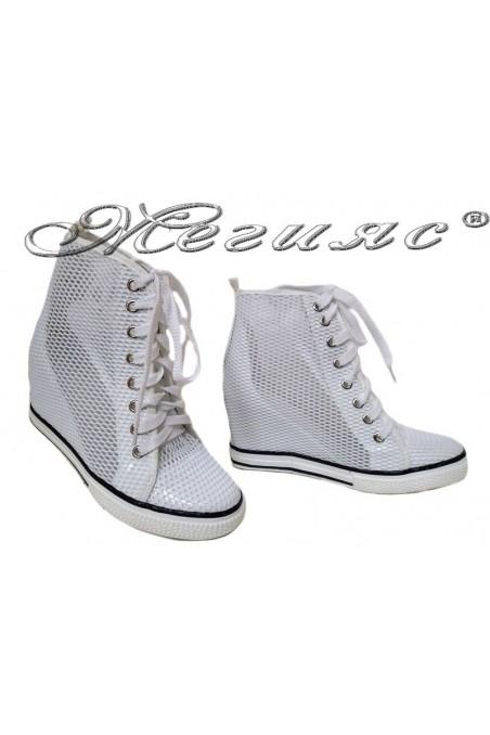 Women ankle boots 114-890 white network sport platfotm