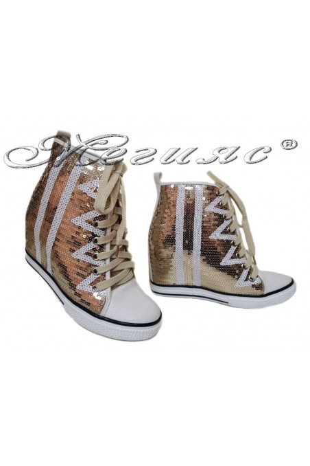 Women ankle boots 114-889 gold sequins sport platfotm