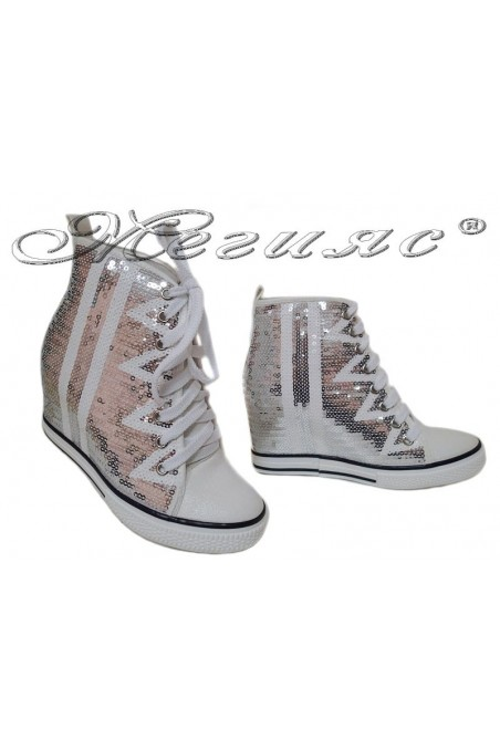 Women ankle boots 114-889 white sequins sport platfotm