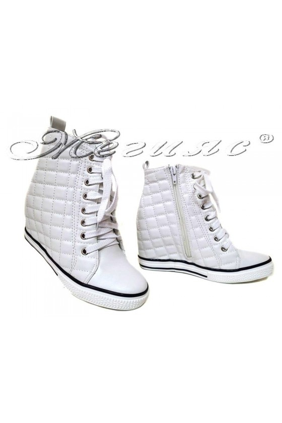 Women ankle boots 114-892 white pu sport platfotm