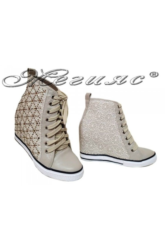 Women ankle boots 114-891 beige sport platfotm