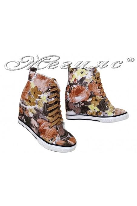 Women ankle boots 114-894 knaki sport platfotm flowers
