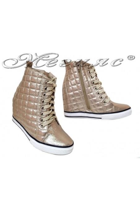 Women ankle boots 114-892 gold sport platfotm