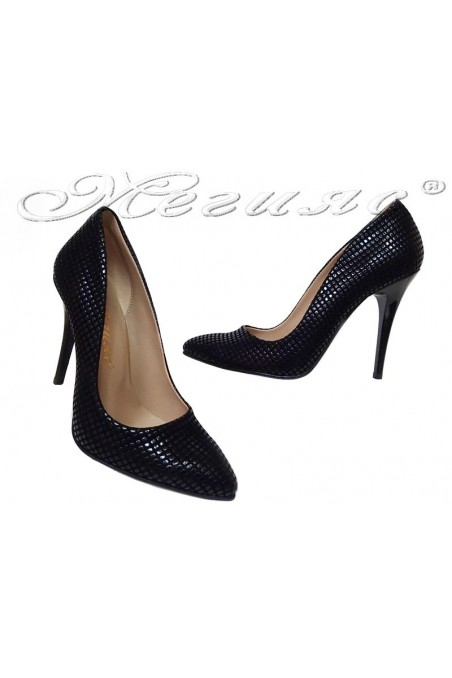 Women shoes 050 high heel black pu