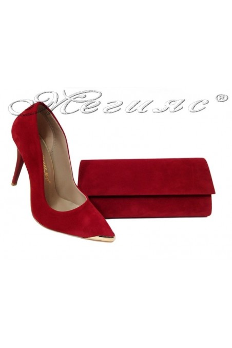 Дамски обувки 1500 червен велур+чанта 373