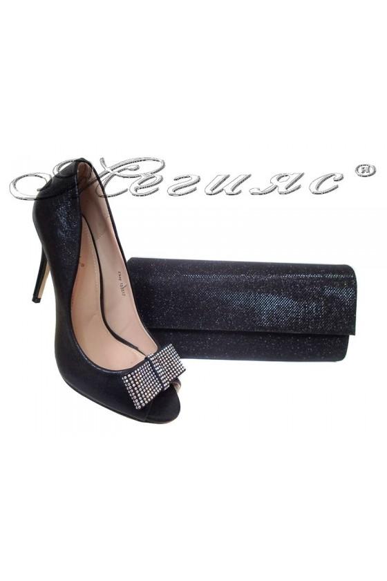 Дамски обувки 155517 черни+чанта 373
