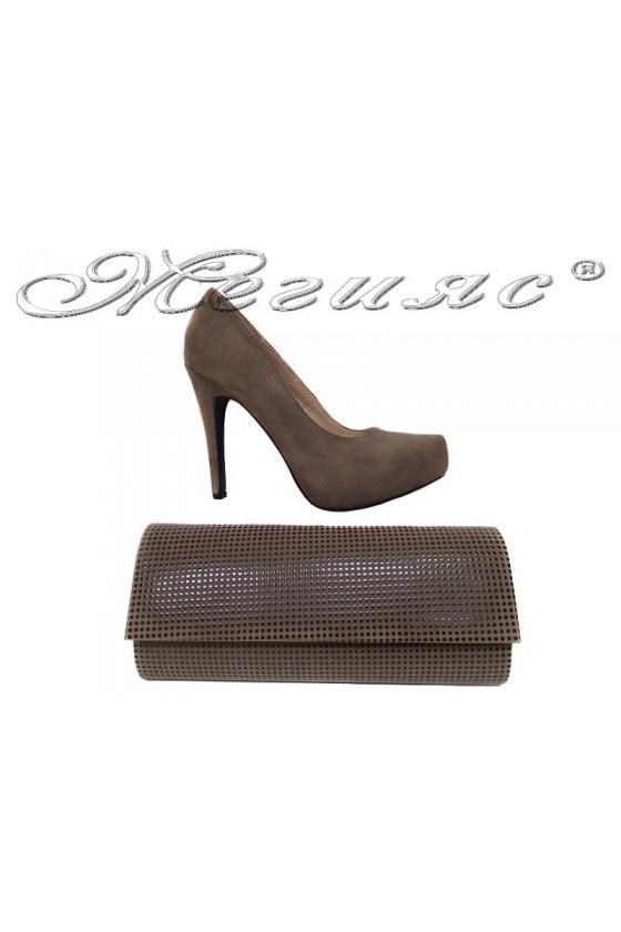 Дамски обувки 155416 кафяви велур+чанта 373