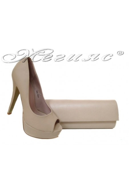 Lady shoes 155501 beige+BAG 373 beige