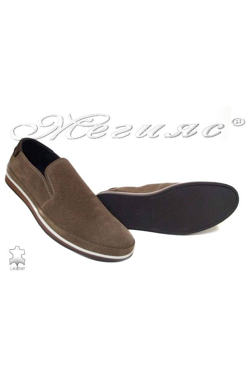 Мъжки обувки 007 тъмно бежови естетсвена кожа