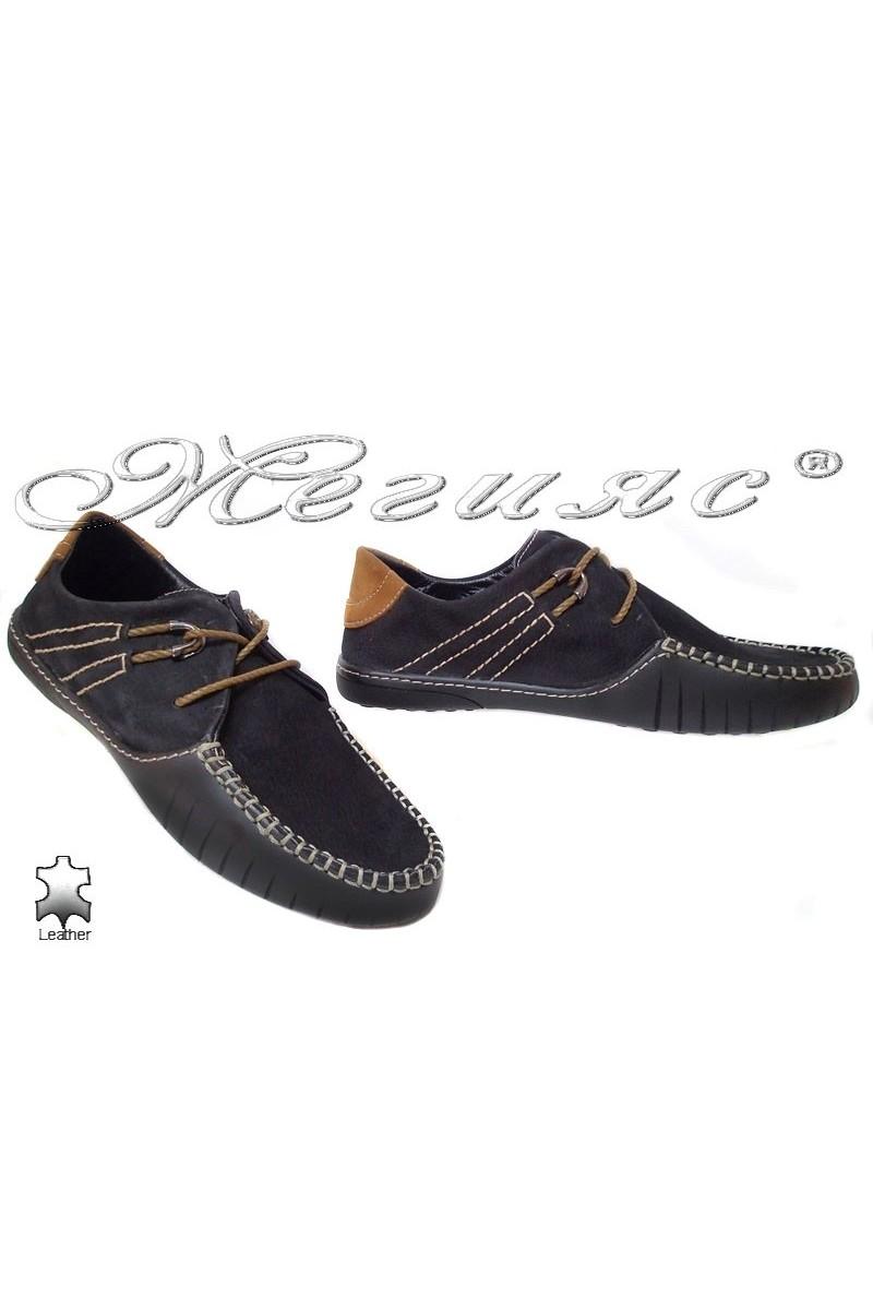 Мъжки обувки R-07 черни естествен велур