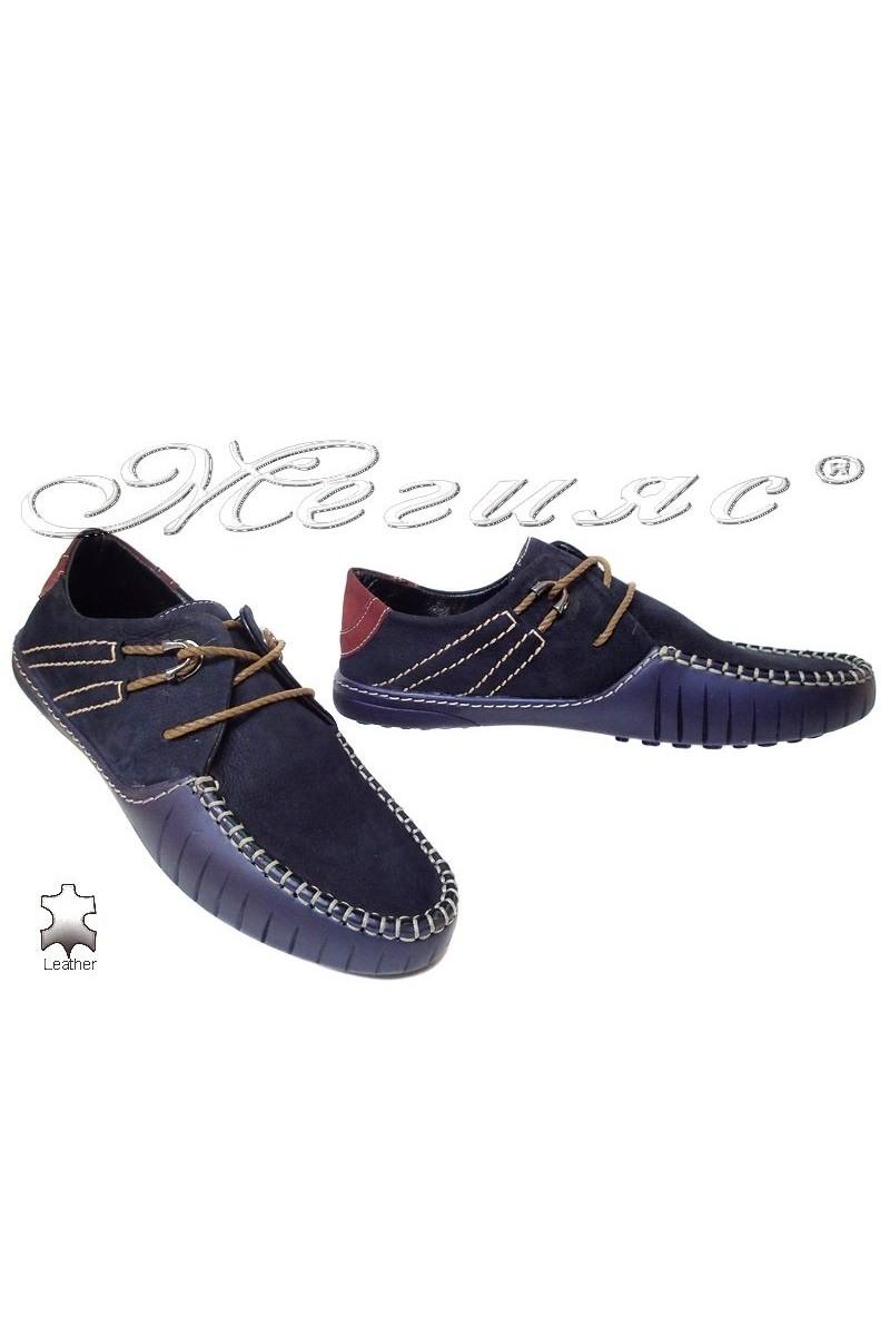 Мъжки обувки R-07 сини естествен велур