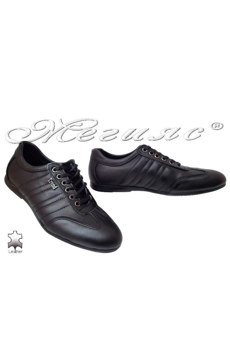 Мъжки обувки Тренд 10 черни естествена кожа