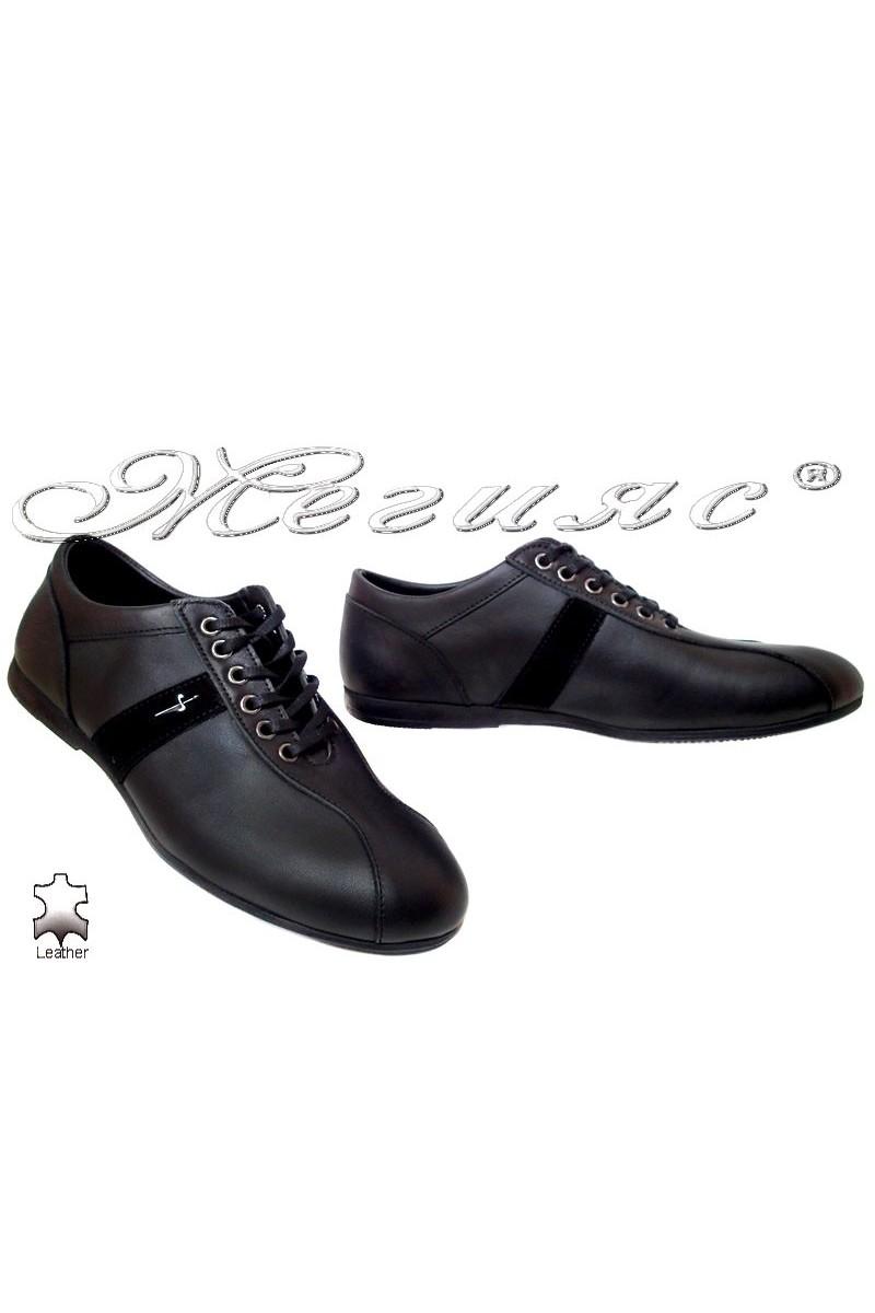 Мъжки обувки Тренд 08 черни естествена кожа