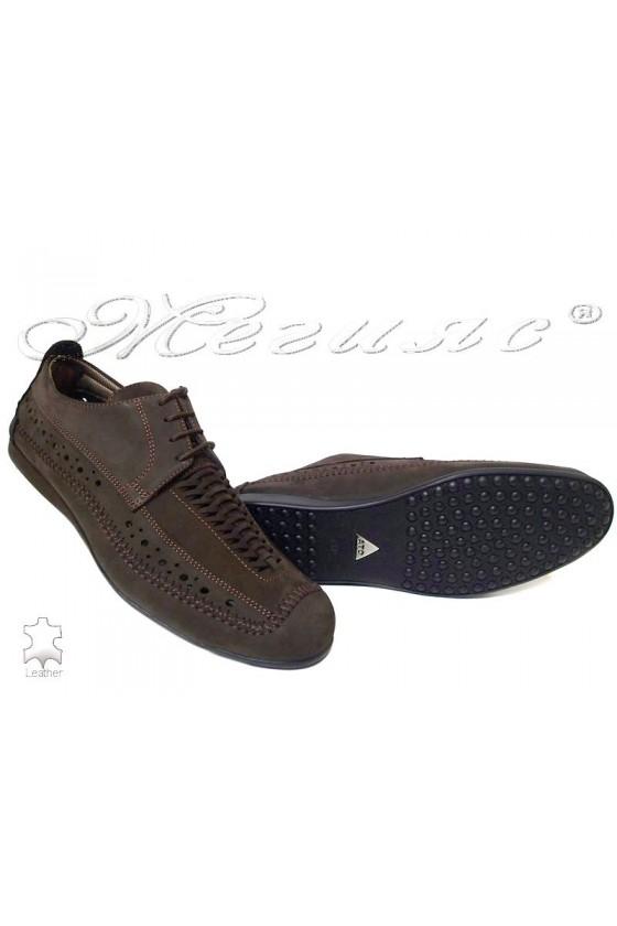 Мъжки обувки тъмно кафяви естетсвен набук
