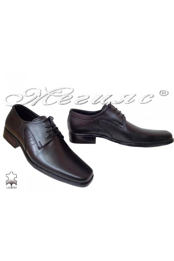 Мъжки обувки Ато 2501 черни естетсвена кожа