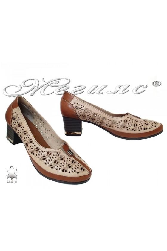 Дамски ежедневни обувки 568 таба естествена кожа среден ток