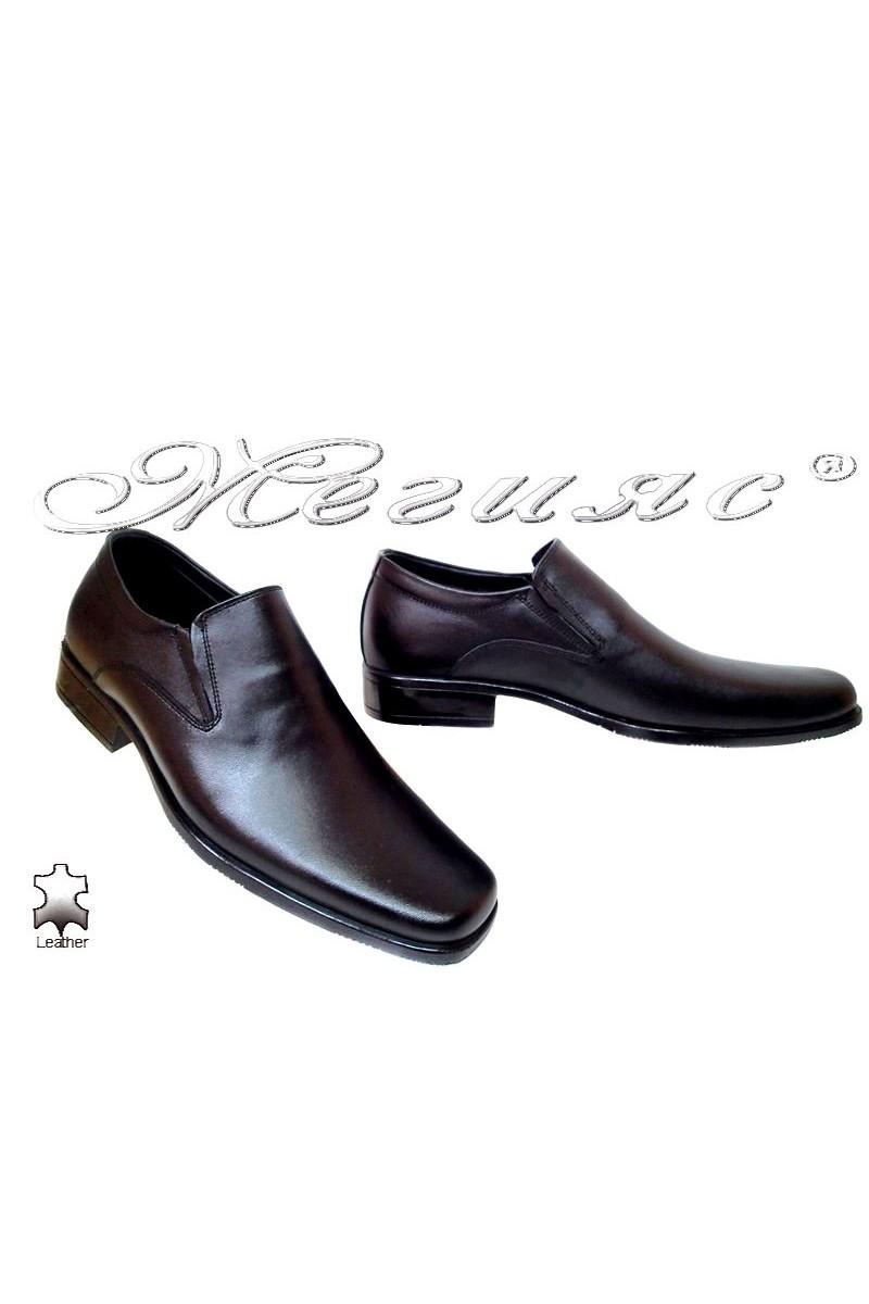 Мъжки обувки Ато 2503 черни естетсвена кожа