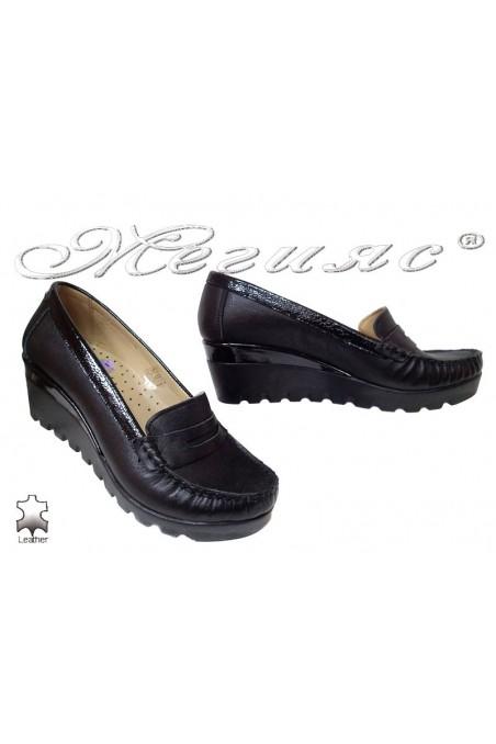 Дамски ежедневни обувки 2800 платформа черни естествена кожа