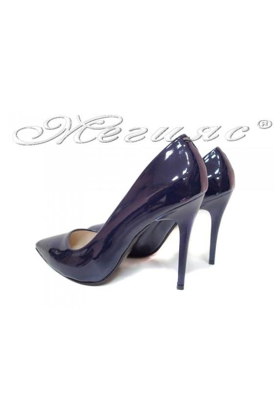 Women elegant  shoes 308 blue high heel pu