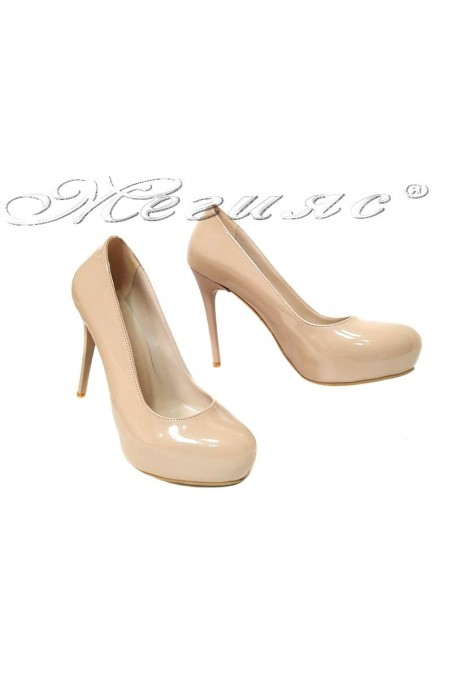 Women shoes 019 high heel platform beige