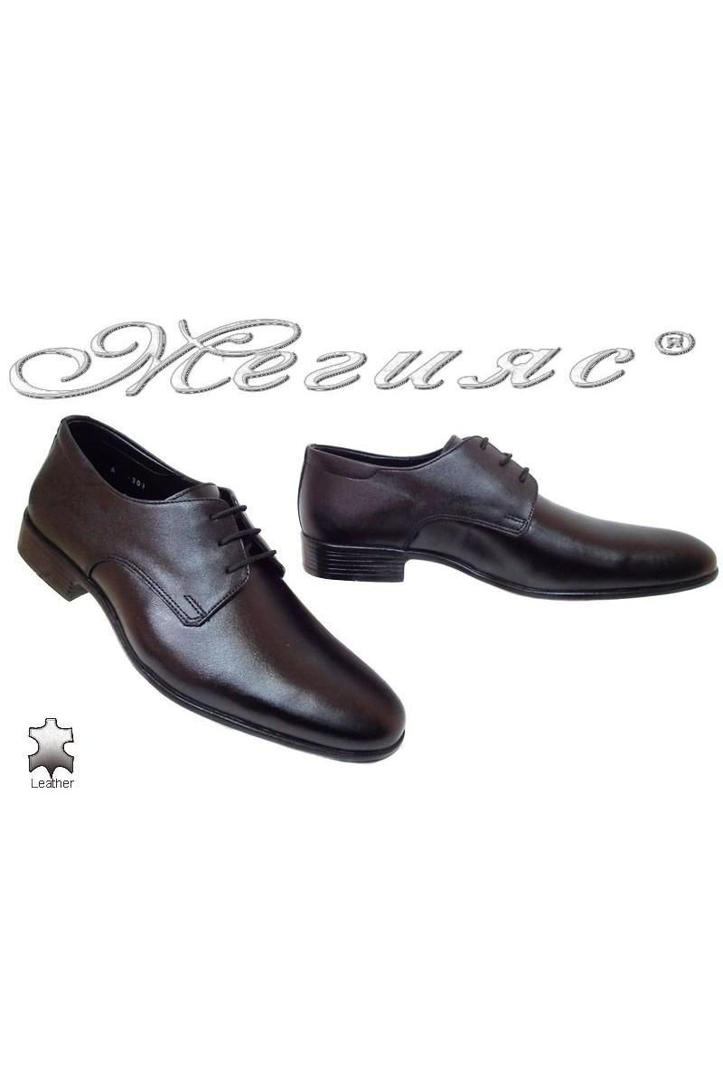 Мъжки обувки Фантазия Р-06 черни елегантни естествена кожа