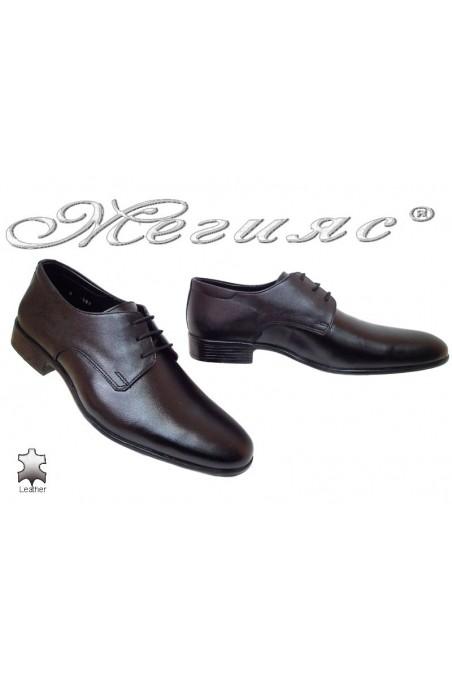 Men elegant shoes 303 black leather