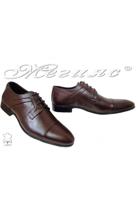 Men elegant shoes 116 brown leather