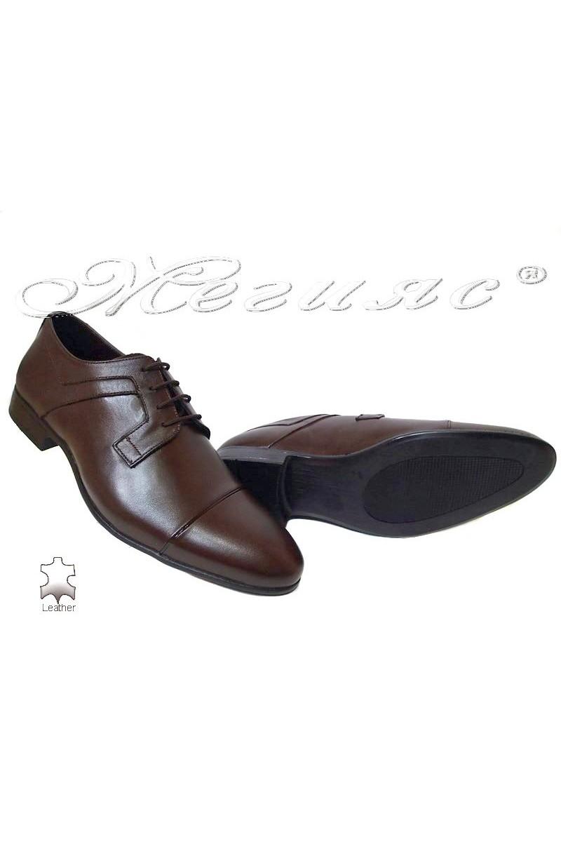 Men elegant shoes 116 brown leather