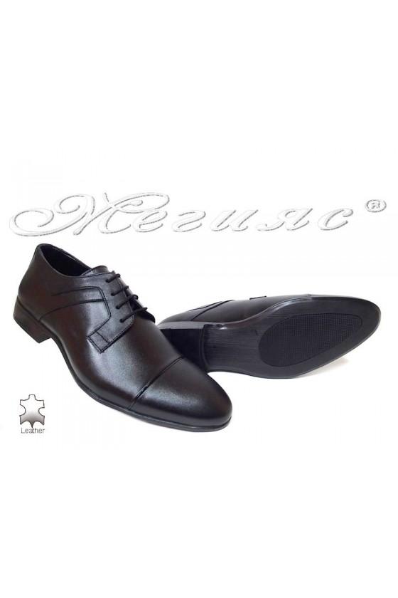 Мъжки обувки елегантни естествена кожа черни Фантазия а-116