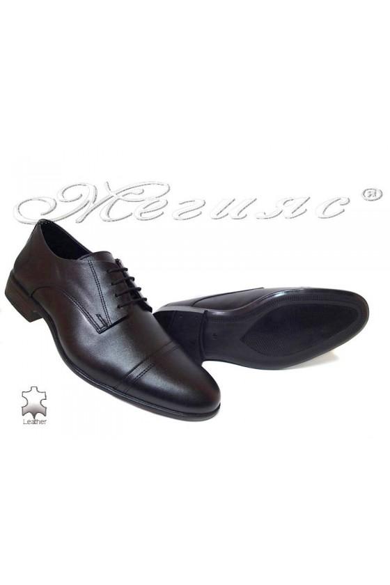 Мъжки обувки елегантни естествена кожа черни Фантазия а-304