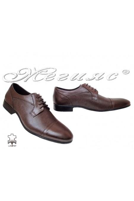 Men elegant shoes 106 brown leather