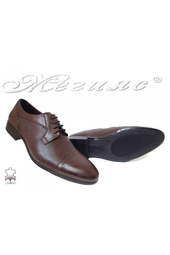Мъжки обувки елегантни от естествена кожа кафяви Фантазия 106