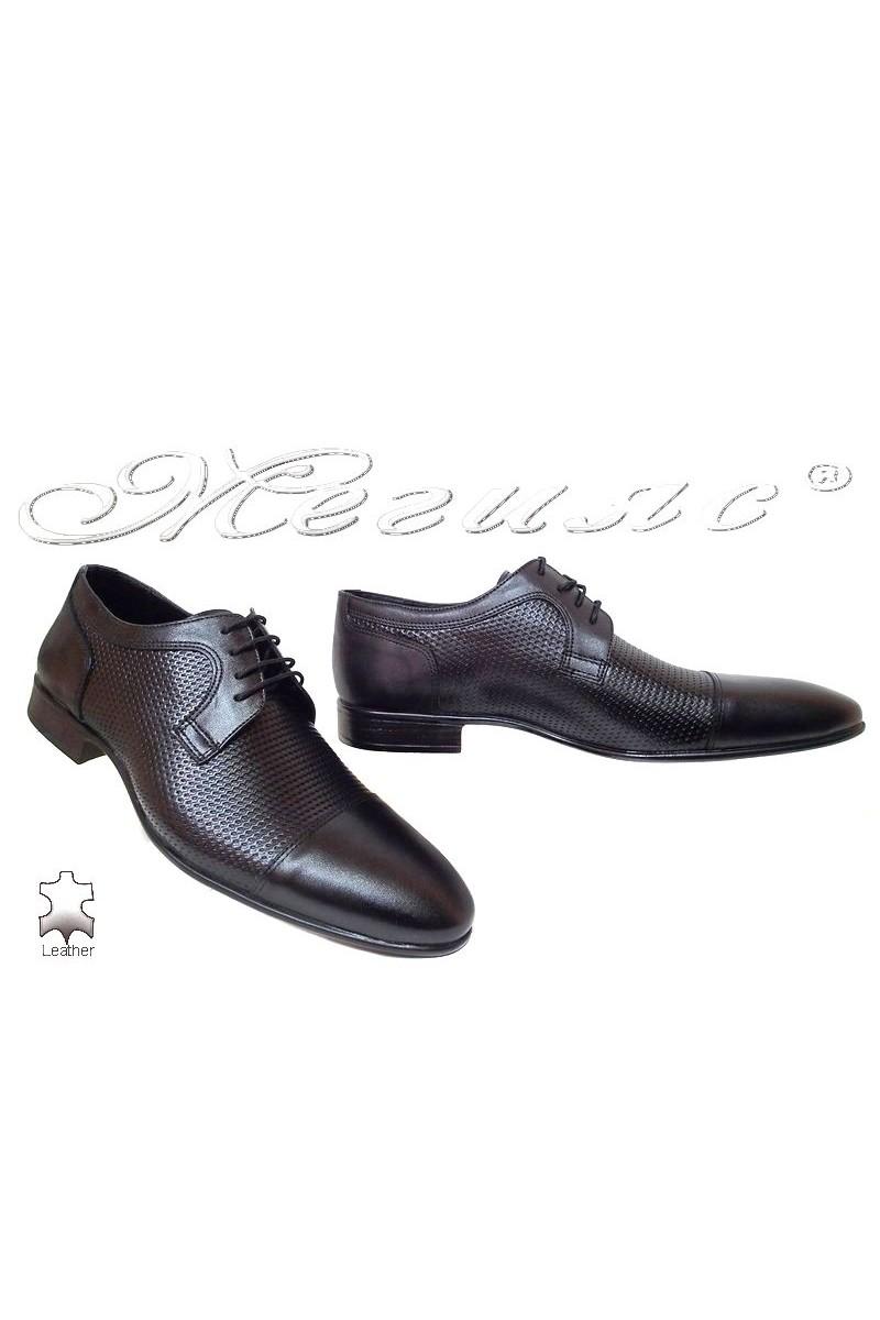 Мъжки обувки Фантазия 208-641 черни елегантни естествена кожа