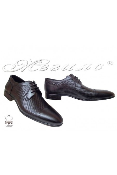 Men elegant shoes 208-641 black leather
