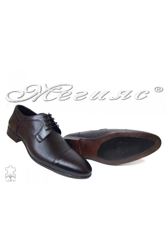 Men elegant shoes 208-641 black leather