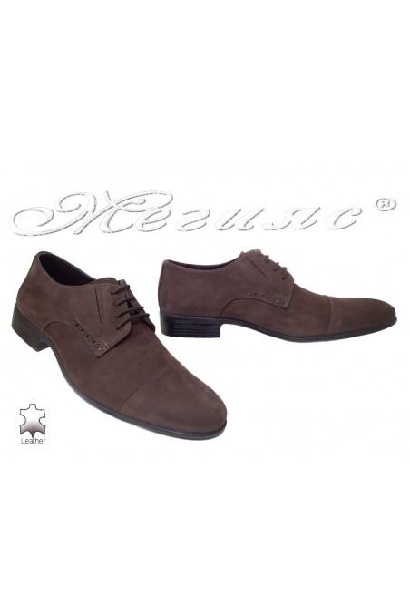 Мъжки обувки Фантазия 309 набук кафяви елегантни естествена кожа