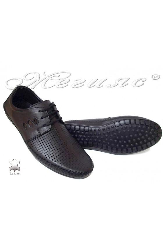 Men shoes 03-014 black leather