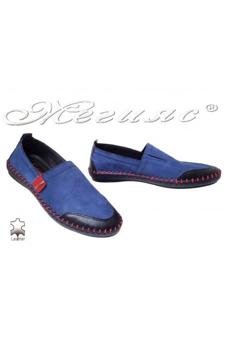 Men shoes 1301-11 blue suede leather