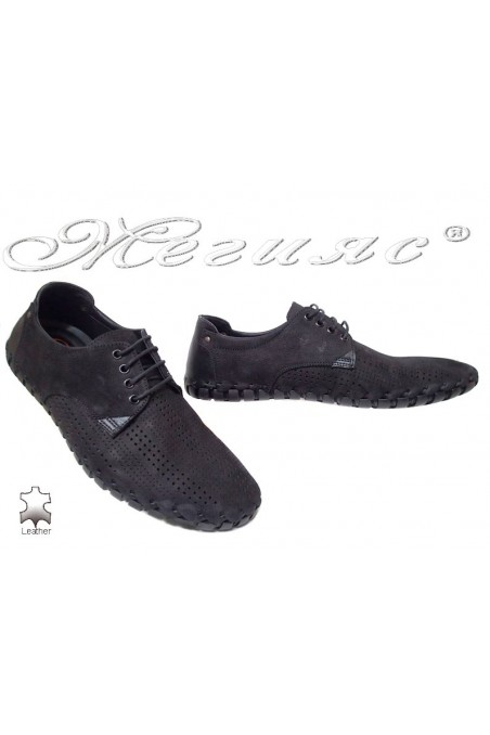 Men shoes 1306 black suede leather