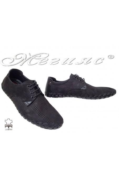 Men shoes 1306 black suede leather