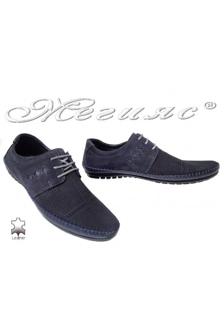 Men shoes 03 024 blue suede leather