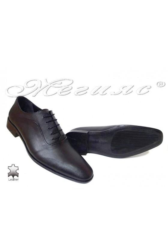 Men elegant shoes 535 black leather