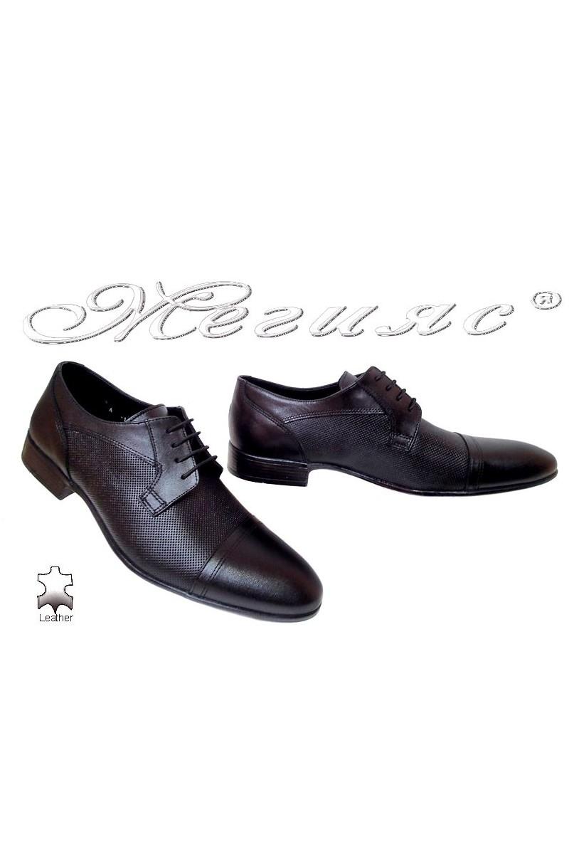 Мъжки обувки Фантазия 106-2 черни мат елегантни естествена кожа