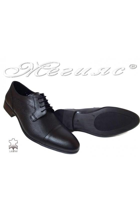 Men elegant shoes 106-6 black leather