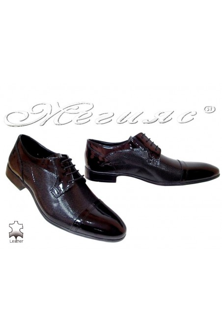 Men elegant shoes 106-6 black patenet leather
