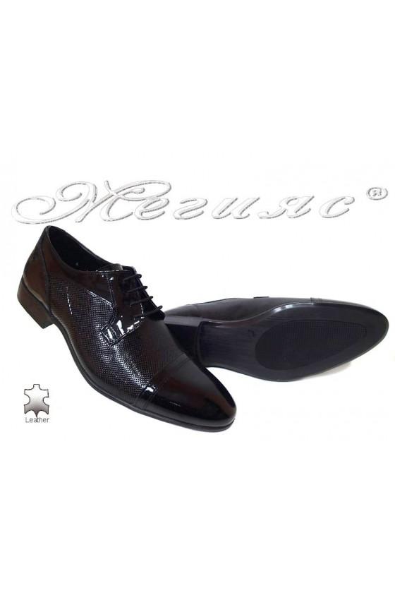 Men elegant shoes 106-6 black patenet leather