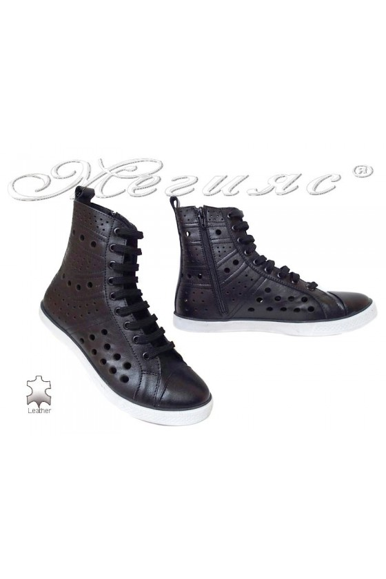 Women sport boots 1597 black leather